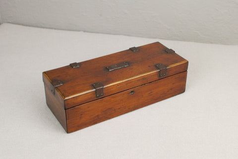 Small Antique Mahogany Wand display & presentation box - Pirate Chest Style