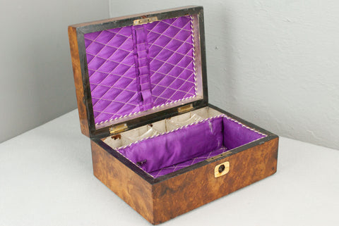 Antique Burr Walnut Wand display & presentation box c 150 years old.