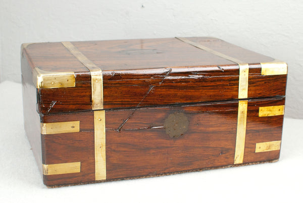 Antique Rosewood & Brass Wand display & presentation box c 200 years old. Pirate Style.