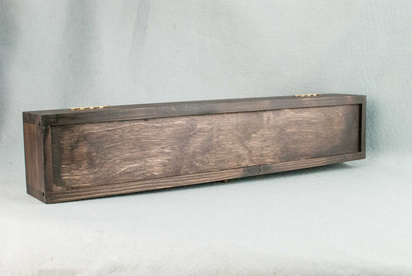 WOODEN WAND CASE, WAXED, ROSEWOOD TONE, GREEN INNER