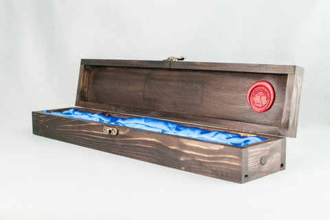 WOODEN WAND CASE, WAXED, ROSEWOOD TONE, ROYAL BLUE INNER