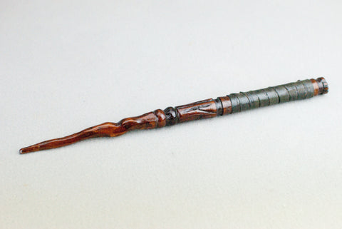 13 Inch Cedar and leather wrap, Real wood Wand  | Handmade & Unique |
