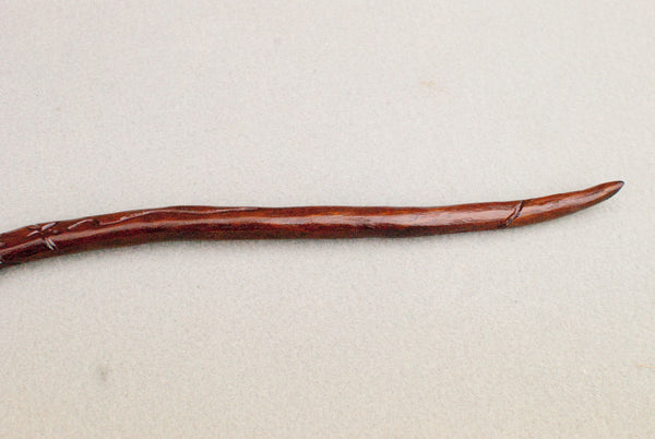 11 5/8 ths Inch Carved Mahogany, Real wood Wand, gold tip | Handmade & Unique |