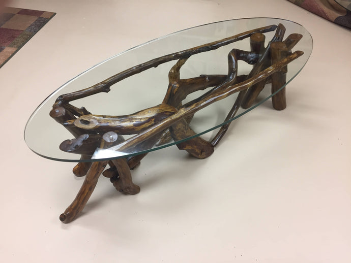 Custom Log Branch Oval Coffee Table