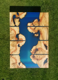 Burled Box Elder epoxy river coffee table