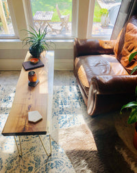 Local Black Locust/Epoxy Hybrid Live Edge Mid Century Modern Coffee Table. - Cave Market Artisan Home Goods and Furniture