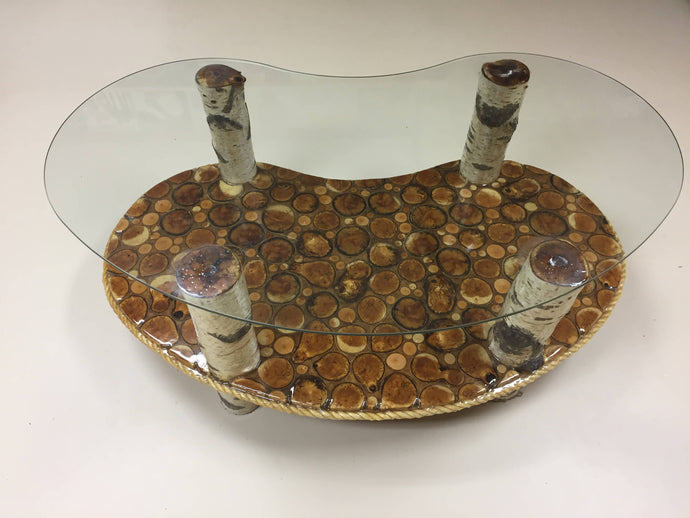 Birch Kidney Shape Log Glass Coffee Table