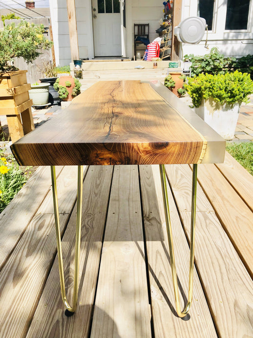 Local Black Locust/Epoxy Hybrid Live Edge Mid Century Modern Coffee Table.