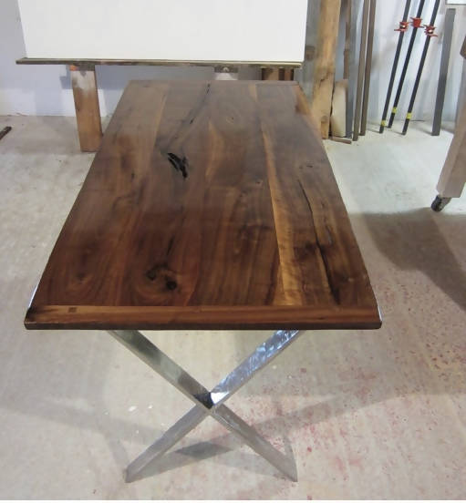 Black walnut farm and steel base farm table