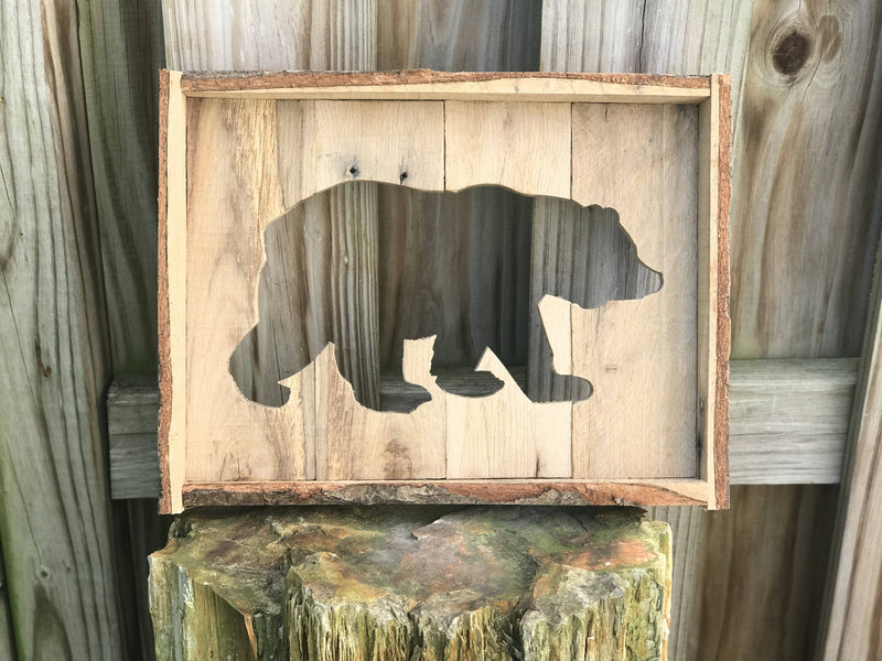 Reclaimed wood - Bear wall decoration - Cave Market Artisan Home Goods and Furniture