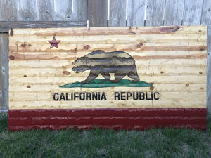 60x32 California Republic Rustic flag. - Cave Market Artisan Home Goods and Furniture