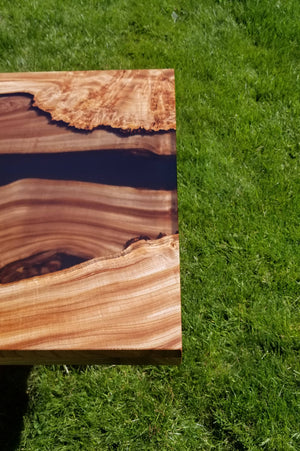 Layered Burled Elm and transparent epoxy coffee table