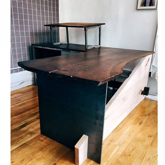 Live edge and steel desk