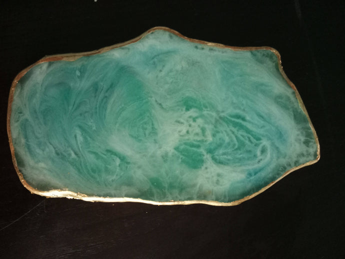 Agate Cheese Tray, Geode Inspired Home Decor, Coffee Table Accessories, Aqua themed Decor, Beach Themed Decor