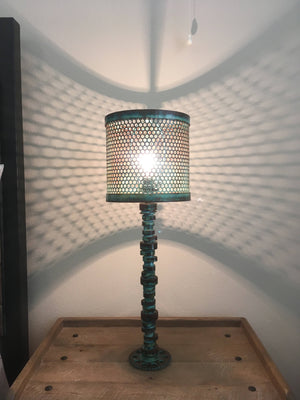 V8 Camshaft Lamp Turquoise Patina - Cave Market Artisan Home Goods and Furniture