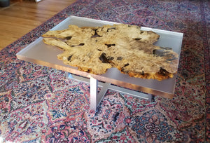 Buckeye Burl and clear epoxy river coffee table