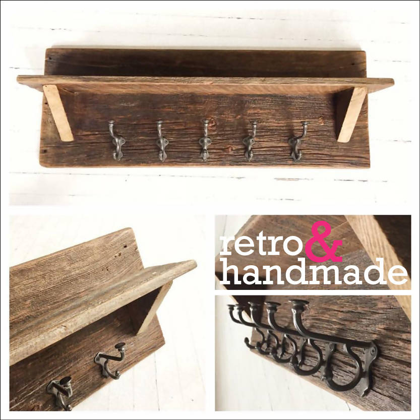 Rustic Coat Rack Shelf - Cave Market Artisan Home Goods and Furniture