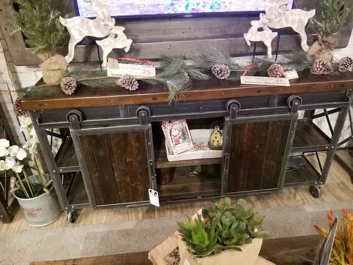 Industrial Rolling Barn Door Entertainment Center