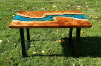 Redwood burl epoxy river coffee table with trout
