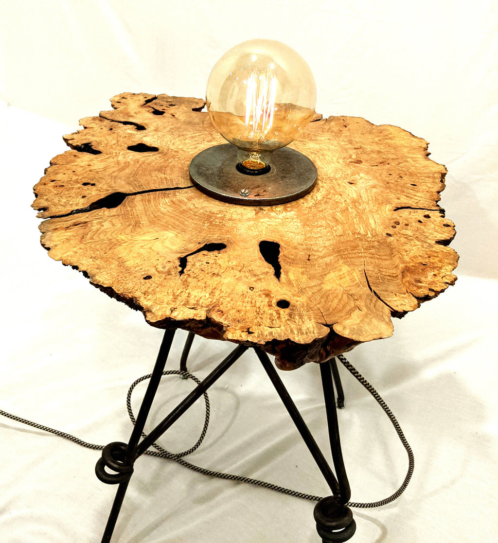 Maple Burl Lamp Table with Touch Dimmer Switch
