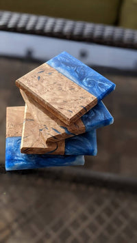 Ocean blue and Olive Wood Coasters