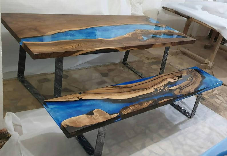 "Walnut and resin sofa viewing table top blue river live edge 8'L X 18""W - Cave Market Artisan Home Goods and Furniture"