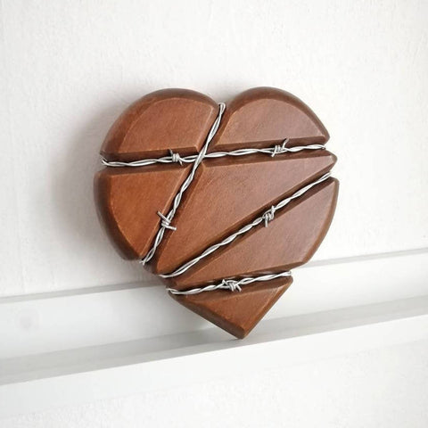 Barbed wire bound Heart wall decor, Free shipping