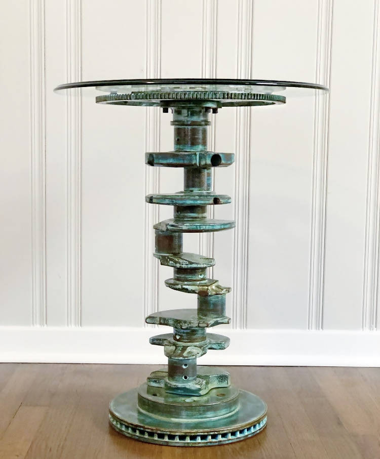 70s V8 Muscle Car Crankshaft End Table; Turquoise Patina - Cave Market Artisan Home Goods and Furniture