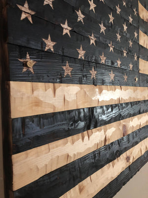 60x32 USA Burnt Flag - Cave Market Artisan Home Goods and Furniture