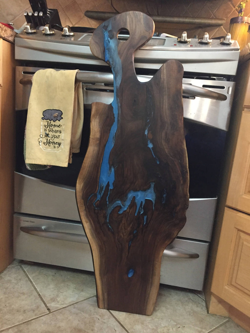 Large Walnut & Blue Epoxy Charcuterie Board - Cave Market Artisan Home Goods and Furniture
