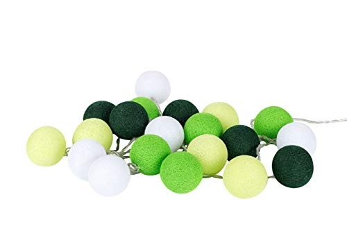 Lime Green Cotton Ball String Fairy Night Lights Kid Bedroom Home Decor Boys Girls Plug in Power