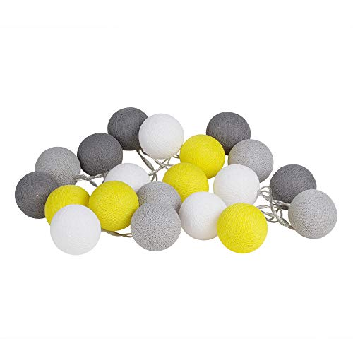 Yellow Gray Cotton Ball String Fairy Night Lights Kid Bedroom Home Decor Boys Girls Plug in Power