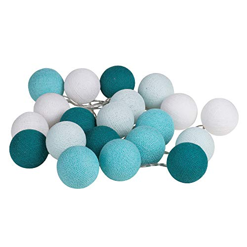 Turquoise Aqua Cotton Ball String Fairy Night Lights Kid Bedroom Home Decor Boys Girls Plug in Power