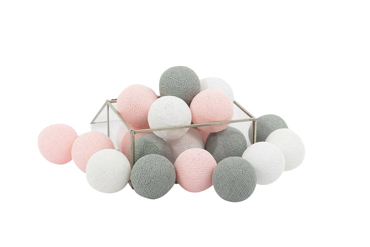 Gray Pink Cotton Ball String Fairy Night Lights Kid Bedroom Home Decor Boys Girls Plug in Power
