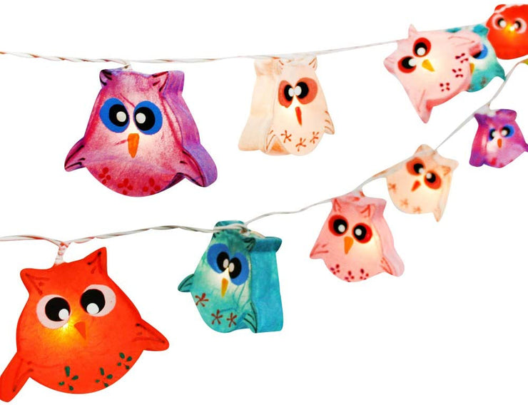 Multi-Colored Owl Bird Fancy Lantern String Night Lights Fairy Decor Living Room Kid Child Bedroom Boys Girls