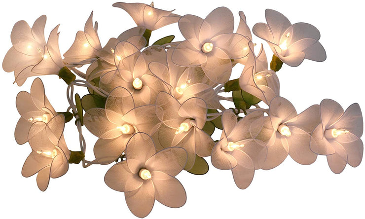 White Flower String Lights Floral,Patio,Fairy,Decor,Boy Girl Bedroom,Wedding, Plug in