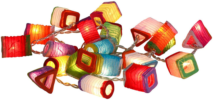 Multicolor Chinese Paper Mini Lantern String Fairy Decor Oriental Asian Plug in Lights