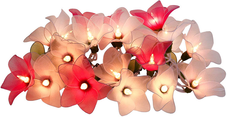 Pink Tone Flower String Lights Floral,Patio,Fairy,Decor,Boy Girl Bedroom,Wedding, Plug in