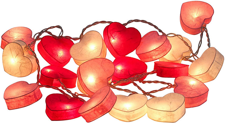 Pink Paper Lanterns Hearts String Fairy Lights Bedroom Home Decor Plug in