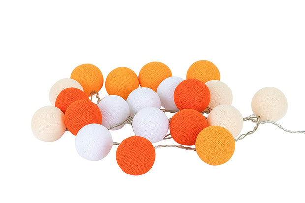Soft Orange Cotton Ball String Fairy Night Lights Kid Bedroom Home Decor Boys Girls Plug in Power