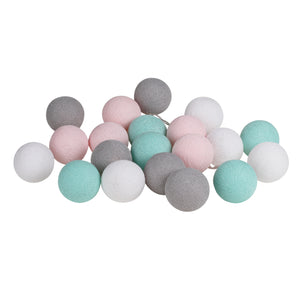 Gray Pink Mint Cotton Ball String Fairy Night Lights Kid Bedroom Home Decor Boys Girls Plug in Power