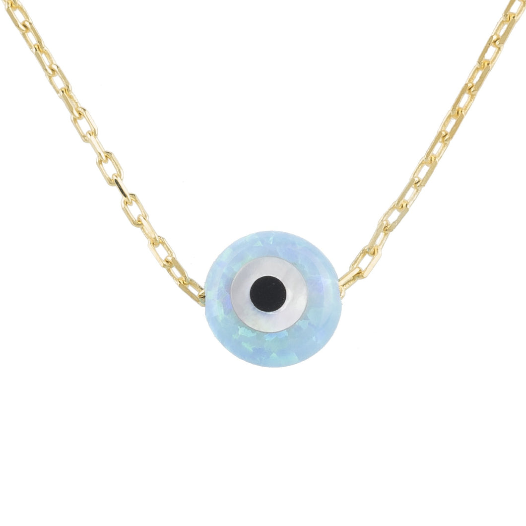 Mini Opalite Evil Eye Necklace Gold
