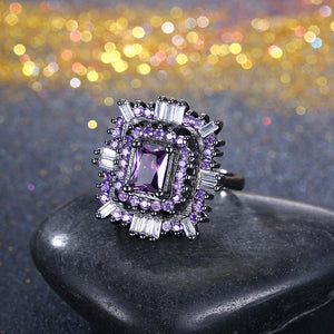 Purple & White Swarovski Halo Ring in Black Gun Plating