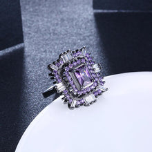 Load image into Gallery viewer, Purple & White Swarovski Halo Ring in Black Gun Plating