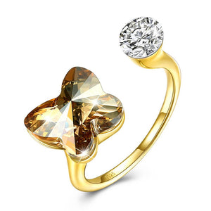 Citrine Butterfly Shaped Adjustable Ring