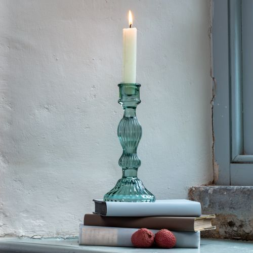Glass Candlestick Green
