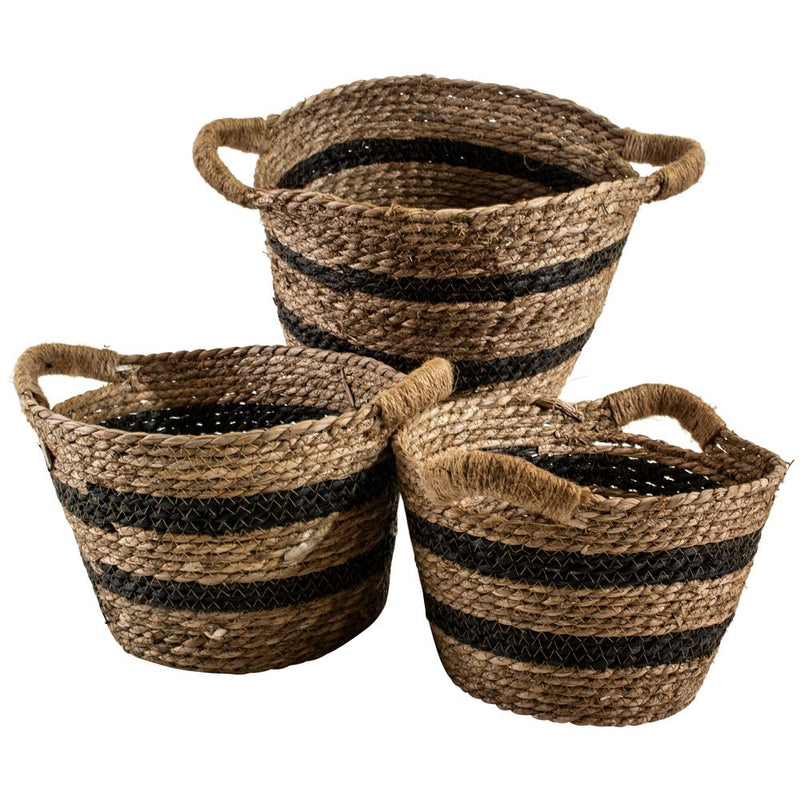 Seagrass Basket Oval Stripe with Handles | Small