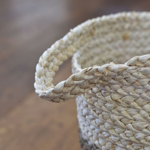 Seagrass Basket Natural 2-Tone with Handles | Medium