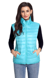 Turquoise Quilted Cotton Down Vest