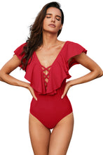 Load image into Gallery viewer, Red Plunging V Neck Ruffled Flutter Sleeve Maillot